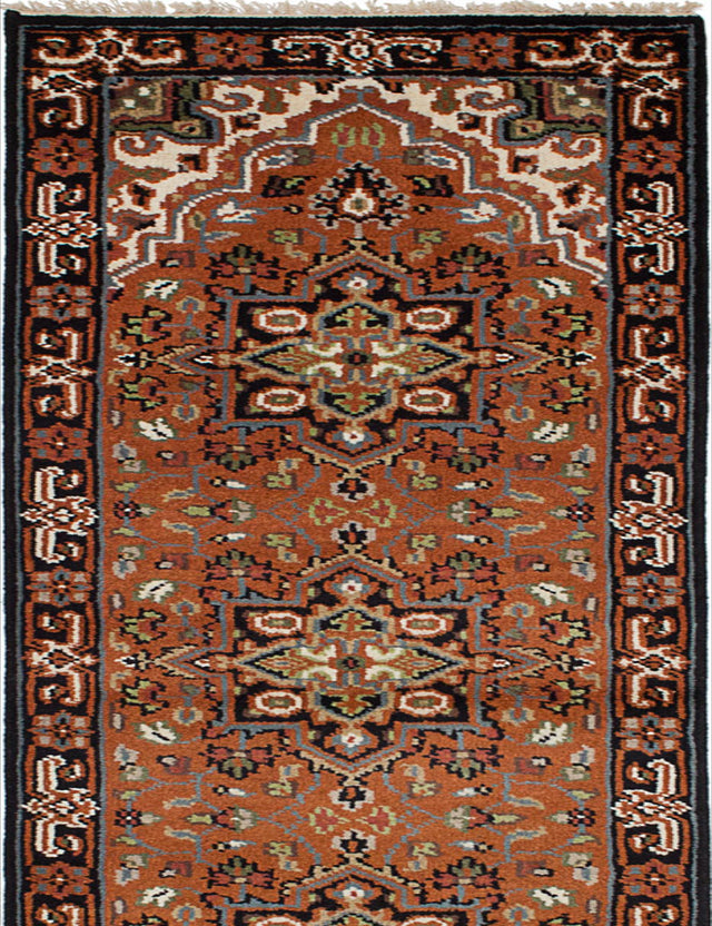 Hand-knotted Indian Geometric  Traditional Royal-Heriz Runner rug  Copper 2.6 x 8.1
