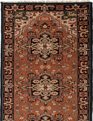 "Hand-knotted Indian Geometric  Traditional Royal-Heriz Runner rug  Copper 2'6 x 20'1"" """