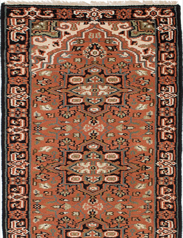 "Hand-knotted Indian Geometric  Traditional Royal-Heriz Runner rug  Copper 2'6 x 19'4"" """