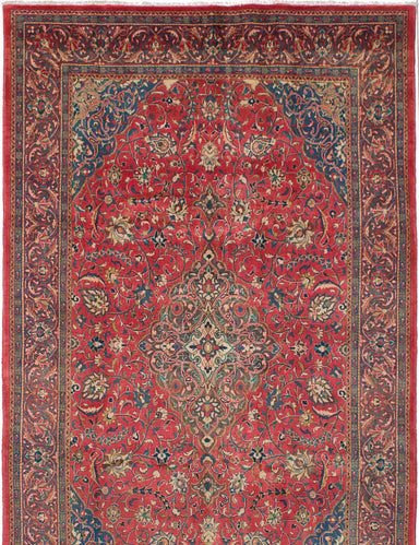 "Hand-knotted  Vintage Sarough Area rug  Red 6'8 x 10'8"" """