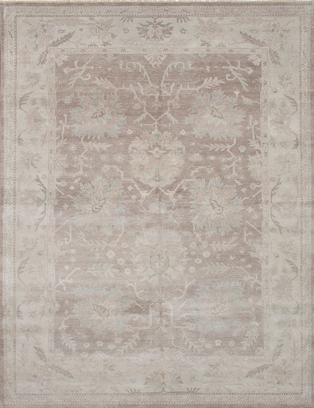 "Hand-knotted Indian Floral  Traditional Finest-Ushak Area rug  Dark Grey 9'1 x 11'10"" """