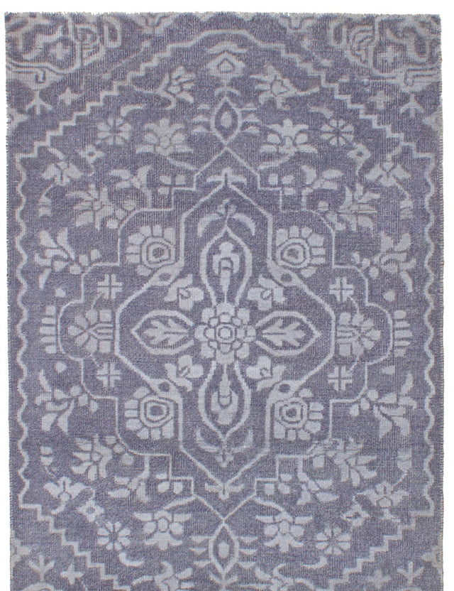 "Hand-knotted Indian Bohemian  Transitional La-Seda Area rug  Dark Grey 4'11 x 7'5"" """
