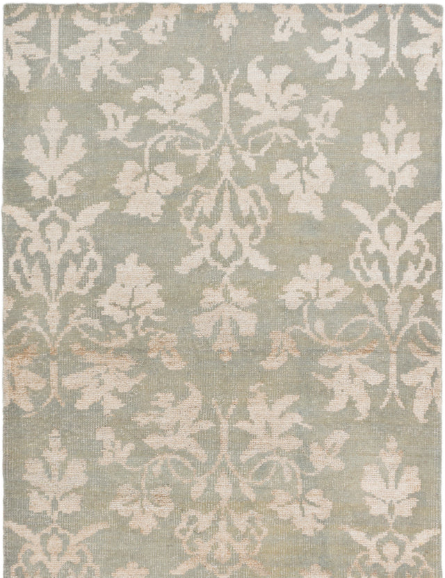 "Hand-knotted Indian Transitional La-Seda Area rug  Light Green 4'11 x 7'10"" """