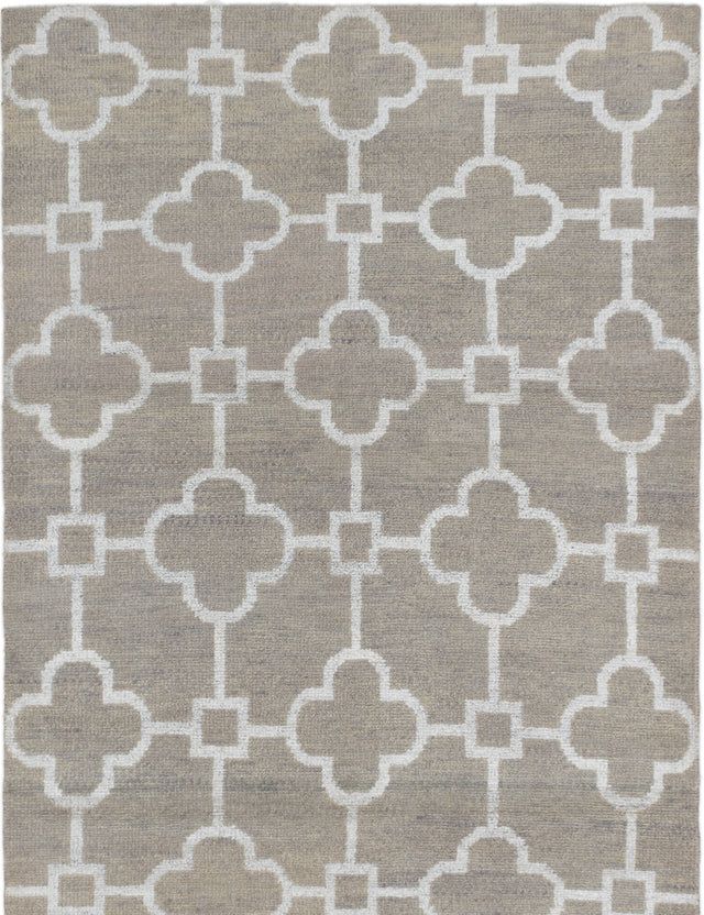 "Hand-knotted Indian Transitional La-Seda Area rug  Khaki 5'2 x 8'1"" """