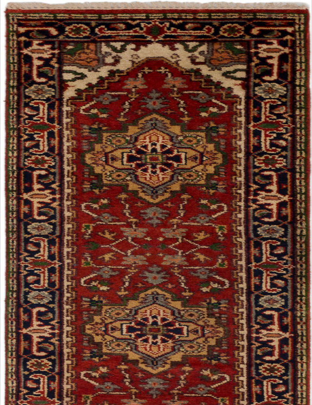 "Hand-knotted Indian Floral  Traditional Serapi-Heritage Runner rug  Red 2'8 x 19'10"" """