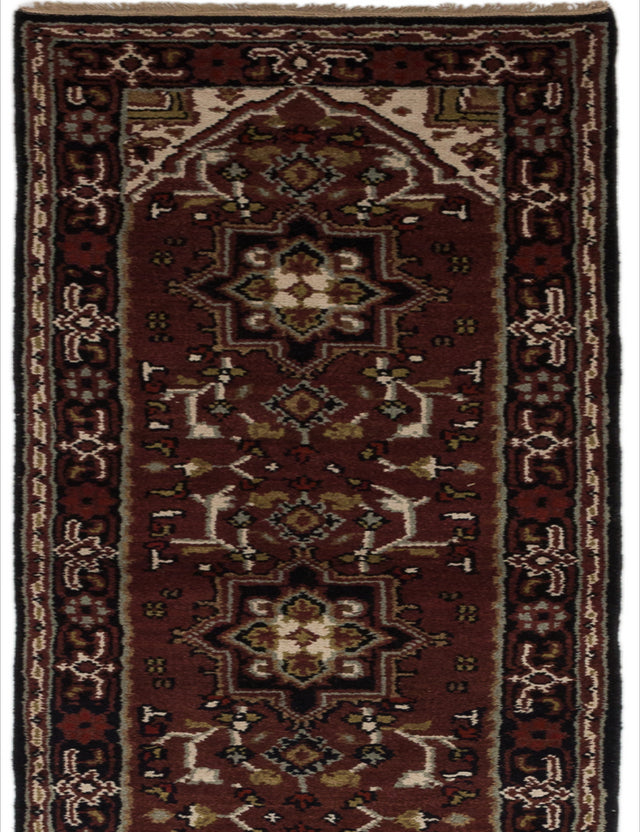 Hand-knotted Indian Geometric  Traditional Royal-Heriz Runner rug  Burgundy 2.7 x 19.8
