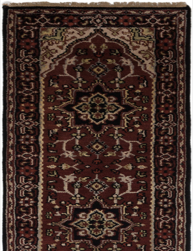 Hand-knotted Indian Geometric  Traditional Royal-Heriz Runner rug  Burgundy 2.6 x 23.5