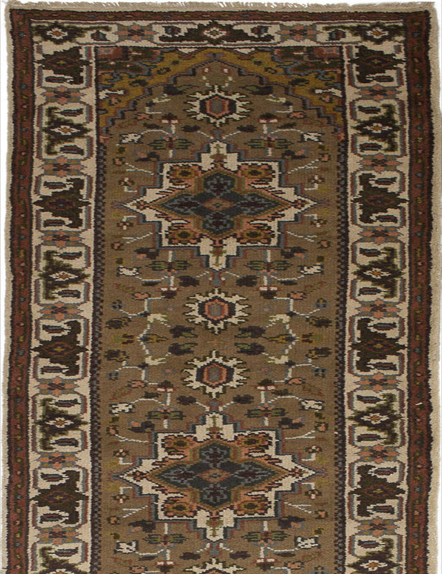 Hand-knotted Indian Geometric  Traditional Royal-Heriz Runner rug  Brown 2.1 x 23.1