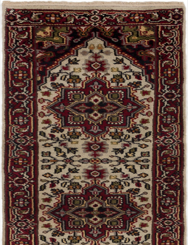 "Hand-knotted Indian Geometric  Traditional Royal-Heriz Runner rug  Cream 2'7 x 11'7"" """