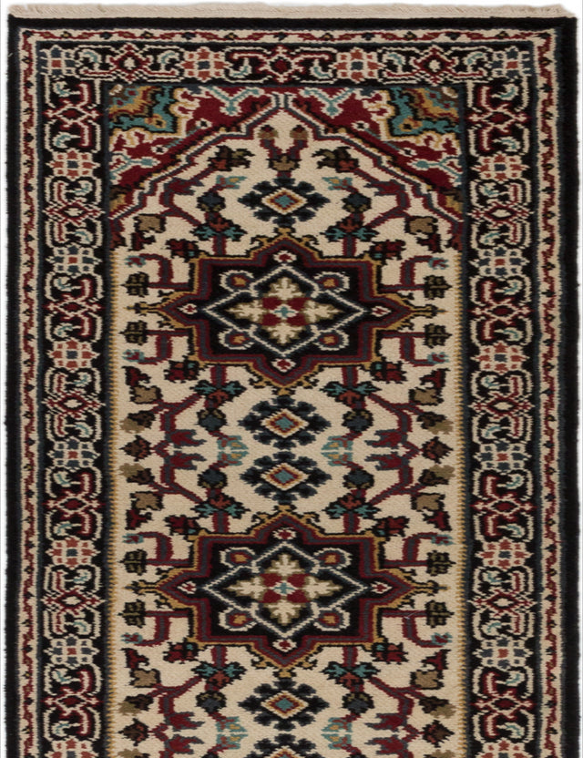 "Hand-knotted Indian Geometric  Traditional Royal-Heriz Runner rug  Cream 2'6 x 19'5"" """