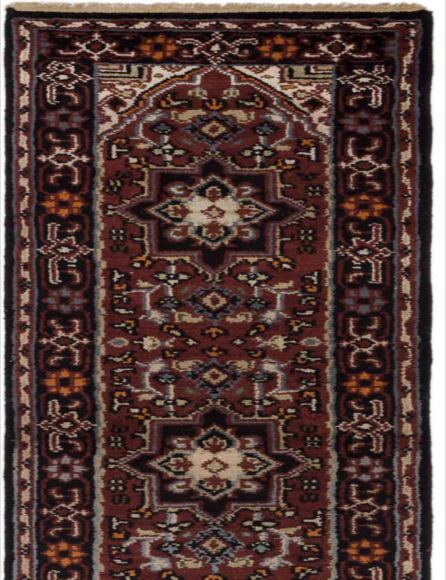 Hand-knotted Indian Geometric  Traditional Royal-Heriz Runner rug  Burgundy 2.6 x 20.6