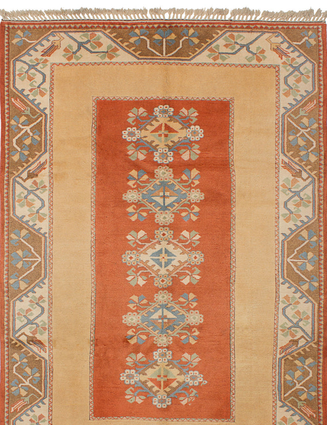 Hand-knotted Turkish Floral  Traditional Ushak Area rug  Dark Copper, Tan 6.5 x 9.1