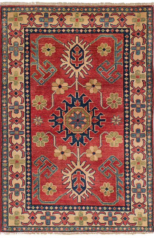 Hand-knotted Area rug Geometric, Traditional Brown