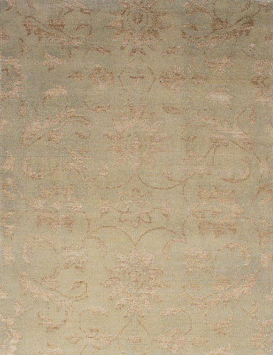 Hand-knotted Indian Transitional Sari-Silk Area rug  Khaki 5 x 7.1