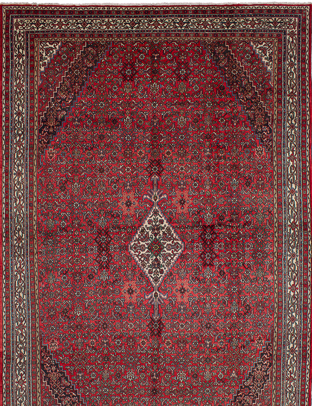Hand-knotted  Vintage Hamadan Area rug  Red 10.4 x 16.11