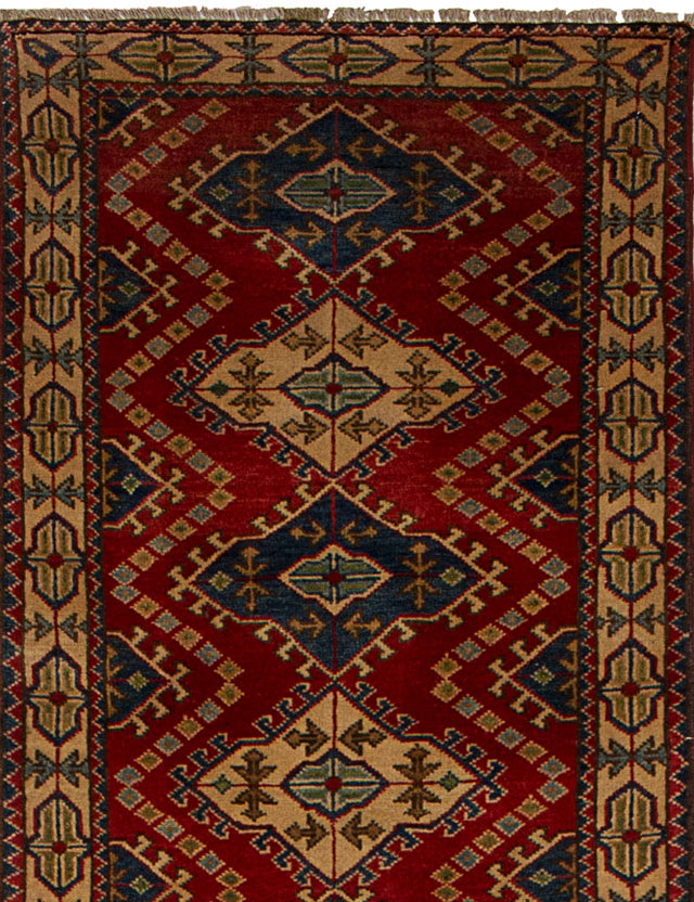 Hand-knotted Area rug Geometric, Geometric, Traditional Red
