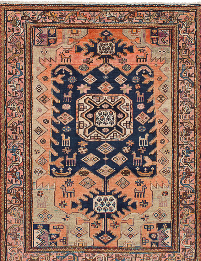 Hand-knotted  Traditional  Vintage Hamadan Area rug  Copper, Dark Navy 4.4 x 5.11