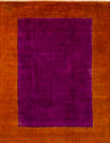 Hand-knotted Indian Bohemian  Transitional Color-transition Area rug  Orange, Purple 9 x 12.2