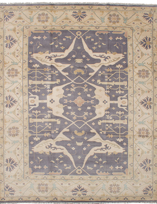 Hand-knotted Indian Bordered  Traditional Royal-Ushak Area rug  Dark Grey 9.2 x 11.1