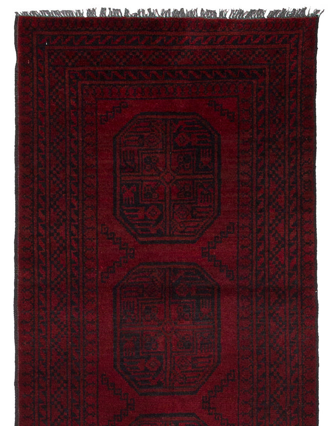 Hand-knotted Afghan Bordered  Tribal Khal-Mohammadi Runner rug  Red 2.8 x 9.5