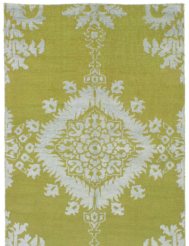Hand-knotted Indian Casual  Transitional La-Seda Area rug  Olive Green 5 x 7.11