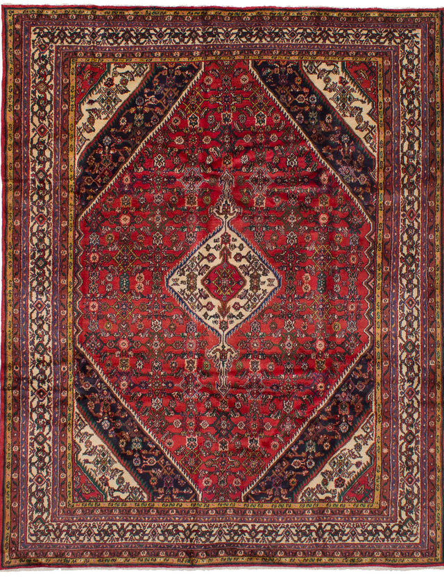 Hand-knotted  Bordered  Southwestern Hosseinabad Area rug  Red 7.9 x 10