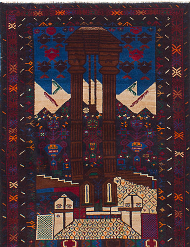 Hand-knotted Afghan Bordered  Tribal Royal-Baluch Area rug  Dark Red 3.1 x 4.9