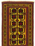 Hand-knotted Afghan Bordered  Transitional Color-Transition Area rug  Red 2.8 x 4