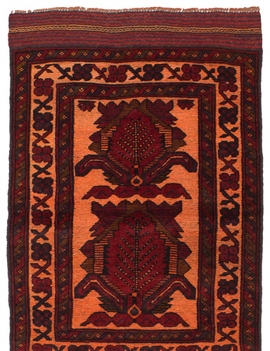 Hand-knotted Afghan Bordered  Transitional Color-Transition Area rug  Red 2.8 x 4.3