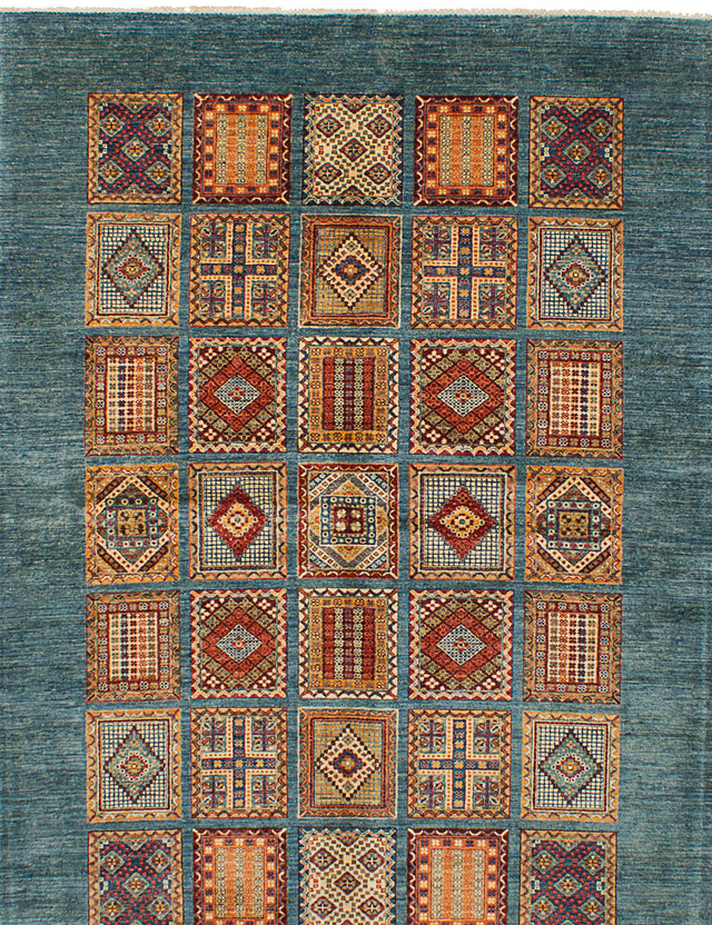 Hand-knotted Area rug Bohemian, Bordered, Gabbeh, Southwestern, Tribal Green