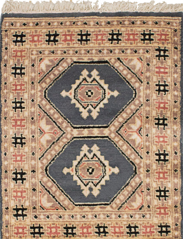 Hand-knotted Area rug Bohemian, Bordered, Geometric, Southwestern, Tribal Grey, Ivory