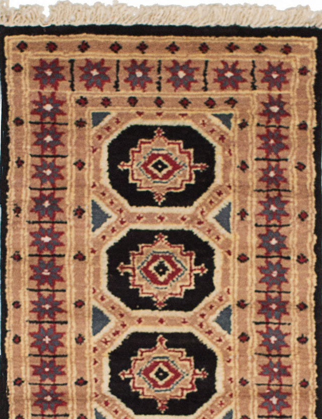 Hand-knotted Area rug Bohemian, Bordered, Geometric, Southwestern Brown