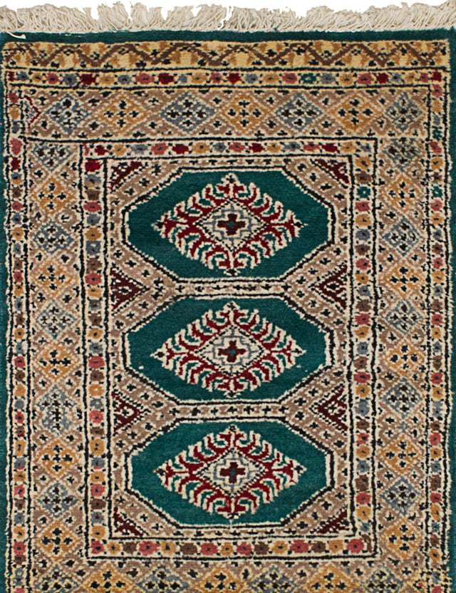 Hand-knotted Area rug Bohemian, Bordered, Geometric, Southwestern Green