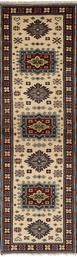 Hand-knotted Area rug Bohemian, Bordered, Geometric, Southwestern, Traditional Ivory
