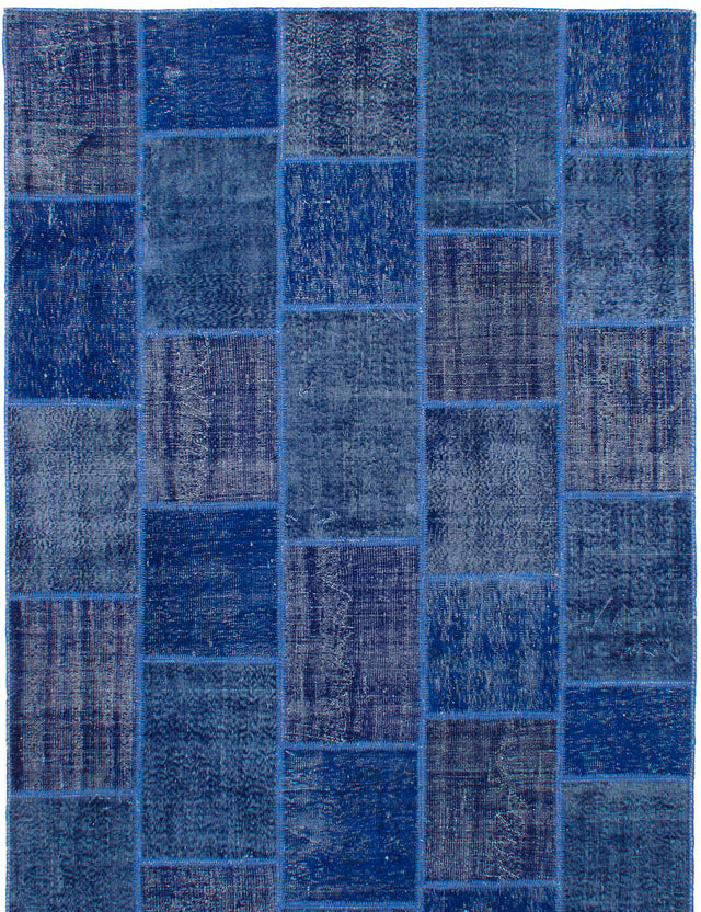 Hand-knotted Area rug Bohemian, Contemporary, Overdyed, Transitional Blue