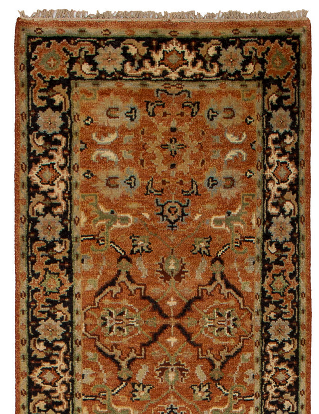 Hand-knotted Indian Traditional Serapi-Heritage Runner rug  Orange 2.6 x 16.2