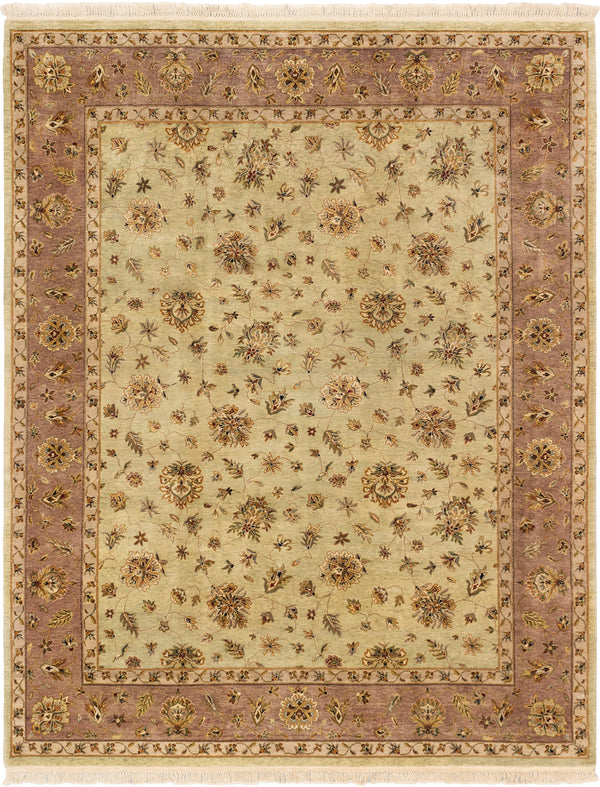 "Hand-knotted Indian Traditional Jamshidpour Area rug  Emerald Green, Ivory 8'1 x 10'2"" """
