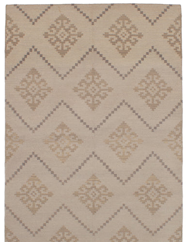Flat-weave Turkish Bohemian  Transitional Ankara-FW Area rug  Light Khaki 5.2 x 8.1