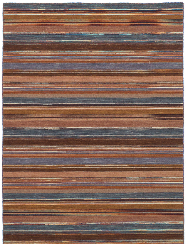 Flat-weave Indian Bohemian  Stripes Manhattan Area rug  Brown 4.8 x 6.7