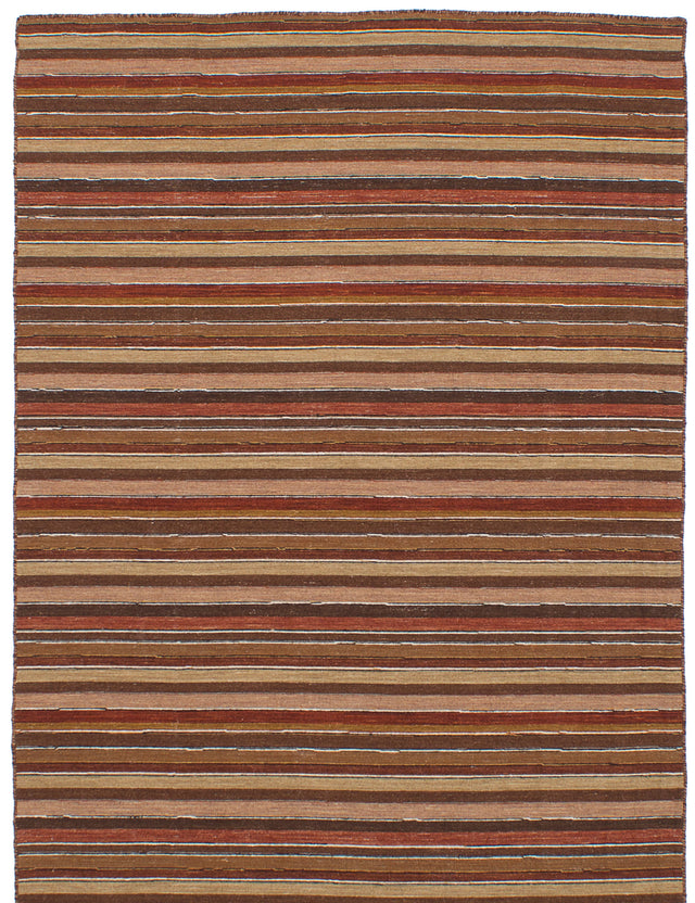 Flat-weave Indian Bohemian  Stripes Manhattan Area rug  Brown, Dark Red 5 x 7.1