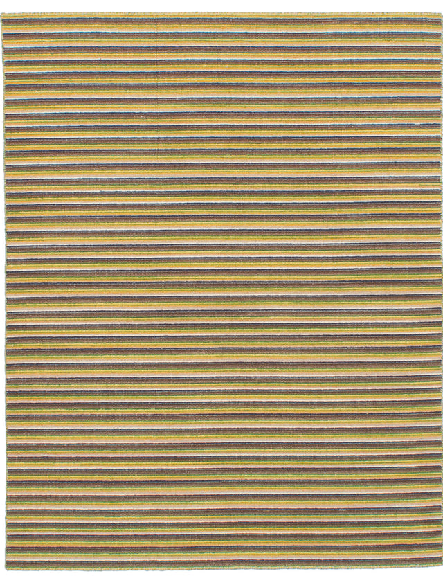 Flat-weave Indian Bohemian  Stripes Manhattan Area rug  Light Brown, Olive 4.9 x 6