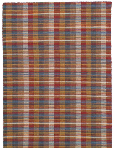 Flat-weave Indian Bohemian  Stripes Manhattan Area rug  Light Brown, Red 5.1 x 7.1