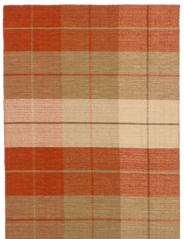 Flat-weave Indian Bohemian  Stripes Manhattan Area rug  Dark Copper, Ivory 4.11 x 8.1