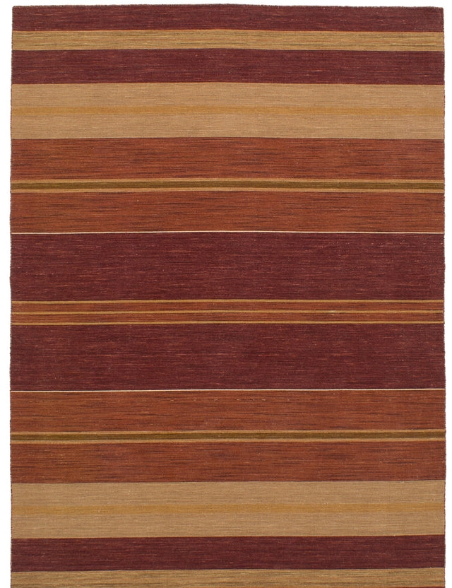 Flat-weave Indian Bohemian  Stripes Manhattan Area rug  Dark Copper, Dark Red 5.6 x 7.9