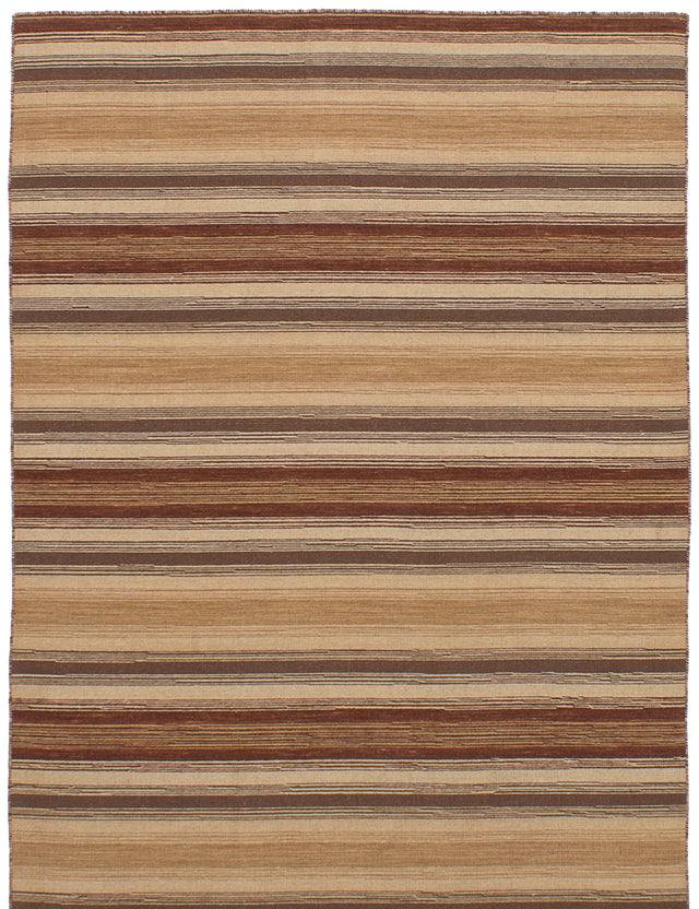 Flat-weave Indian Bohemian  Stripes Manhattan Area rug  Dark Brown, Ivory 4.8 x 6.8
