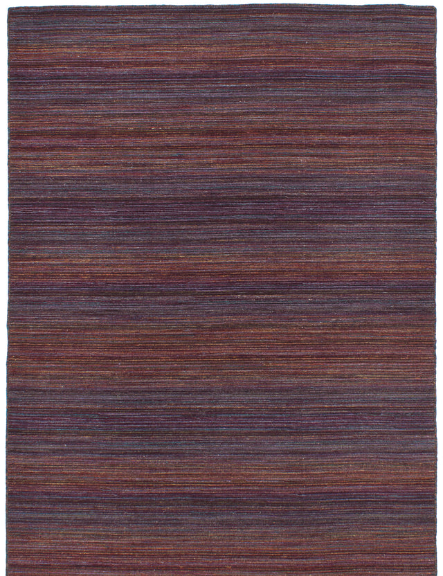Flat-weave Indian Bohemian  Stripes Manhattan Area rug  Dark Red 5 x 7.1
