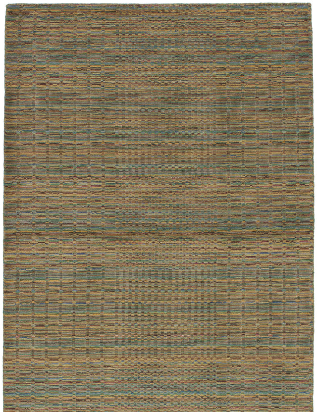Hand-knotted Indian Carved  Stripes Luribaft-Gabbeh-Riz Area rug  Green, Light Brown 4.7 x 6.7