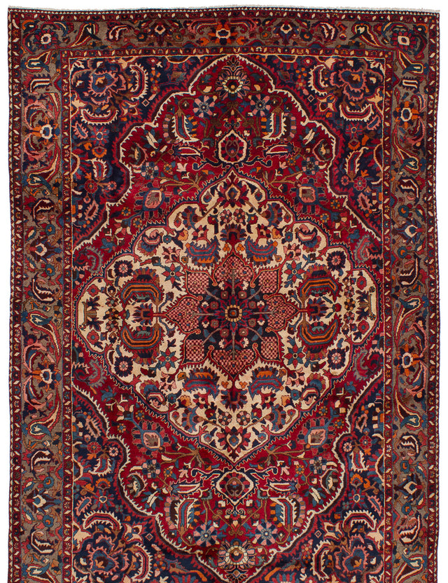 Hand-knotted  Bordered  Traditional Bakhtiar Area rug  Red 7 x 10.9
