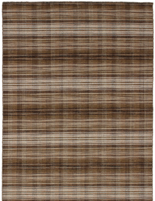 Flat-weave Indian Flat-weaves & Kilims  Transitional Manhattan Area rug  Brown 4.7 x 6.7