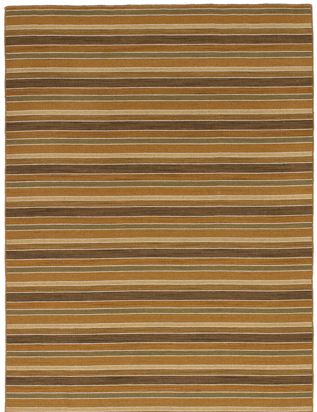 Flat-weave Indian Flat-weaves & Kilims  Transitional Manhattan Area rug  Brown, Copper 4.7 x 6.7